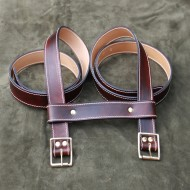 "Straps - 1.5"" Wide Classic Sports Car Rack Luggage or Basket Straps (pair with spacer strap) 55"" Long in Dark Brown Leather"
