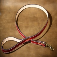 Dog Lead in Red Leather with Solid Brass Trigger Hook to suit most LARGE dogs