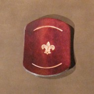 Scouts & Cubs - 'American style' Leather Scout Woggle with Fleur de Lys Motif in Brown