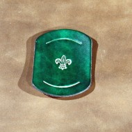 Scouts & Cubs - Plain Embossed Leather Scout Woggle with Fleur de Lys Motif in Green